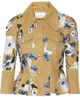 Erdem Shari Embroidered Cotton-canvas Peplum Jacket - Tan