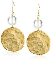 Kenneth Jay Lane Polished Gold Coin With Clear Top Drop Earring