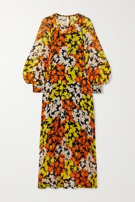 McQ Hisano Floral-print Silk-chiffon Midi Dress - Orange