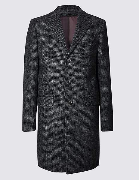 Marks and Spencer Pure Wool Textured Overcoat
