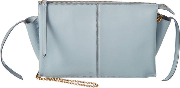 Celine Tri-Fold Leather Clutch On Chain