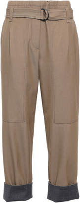 Brunello Cucinelli Cropped Belted Wool And Cotton-blend Twill Straight-leg Pants