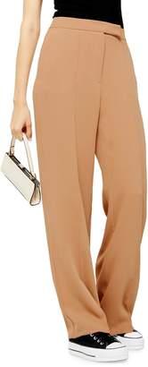 Topshop Camel Pintuck Wide-Leg Trousers