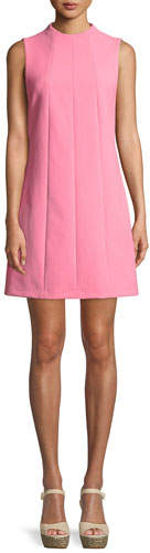 Alice + Olivia Coley Mock-Neck Sleeveless Seamed A-Line Mini Dress