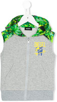 Diesel tropical sleeveless hoodie - kids - Cotton/Spandex/Elastane - 2 yrs