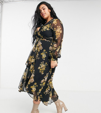 ASOS DESIGN Curve wrap waist midi dress with double layer skirt and long sleeve in floral print