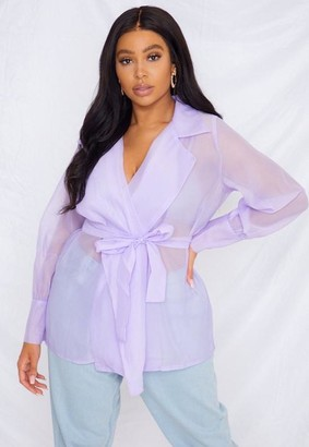 Missguided Plus Size Lilac Organza Belted Wrap Blouse