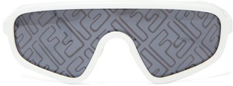 Fendi Botanical Ff-print Shield Sunglasses - White