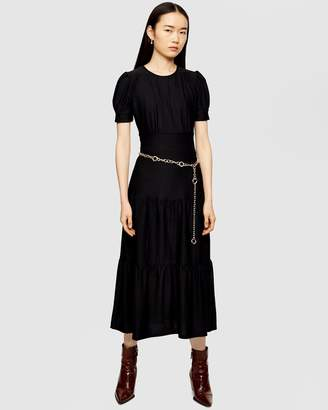Topshop Plain Tiered Midi Dress