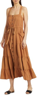Free People Catch The Breeze Button Midi Dress