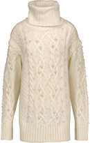Rachel Zoe Embellished cable-knit wool-blend turtleneck sweater