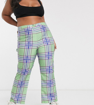 Asos DESIGN Curve 90's check kick flare pants in shell fabric