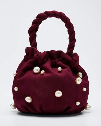 STAUD Satin Pearly Grace Top Handle Bag