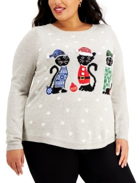 Karen Scott Plus Size Embroidered Holiday Kitty Sweater, Created for Macy's