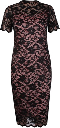 Purple Hanger Womens Short Sleeves Ladies Round Scoop Neckline Stretch Lined Floral Lace Scallop Edge Bodycon Midi Dress Plus Size Black & Peach 20