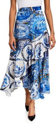 Libertine Mixed Print Asymmetrical Flounce Skirt