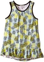 Ikks Reversible Dress in Abstract Pineapple Print Reversing to Jersey Triangle Print (Infant/Toddler)