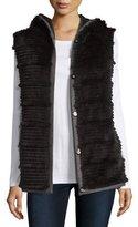 Pologeorgis Hooded Reversible Rabbit Fur Vest, Black