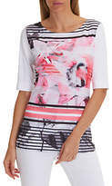 Betty Barclay Graphic Leaf Print T-Shirt, Red/White