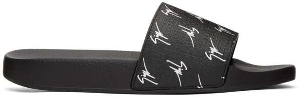 Giuseppe Zanotti Black All Over Logo Burel Sandals