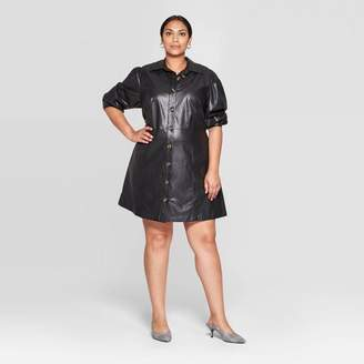 Who What Wear Women's Plus Size Puff Long Sleeve Collared Button-Up A Line Mini Dress - Who What WearTM
