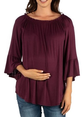 24/7 Comfort Apparel 24seven Comfort Apparel Bell Sleeve Loose Fit Maternity Tunic Top