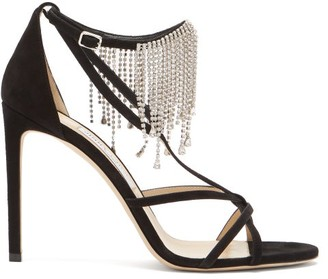 Jimmy Choo Bijou 100 Crystal-fringe Suede Sandals - Black