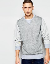 G Star G-Star Crew Sweatshirt Riban Contrast Sleeve in Gray Heather