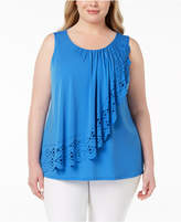 Belldini Plus Size Laser Cut Overlay Tank Top