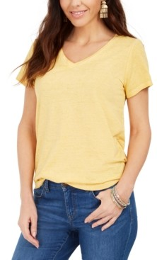 Style&Co. Style & Co Burnout V-Neck T-Shirt, In Regular and Petite, Created for Macy's