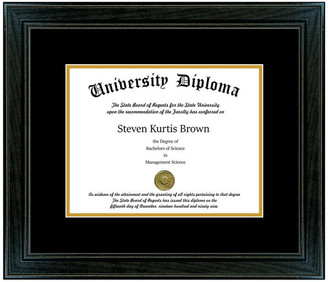 "Perfect Cases, Inc. Single Diploma Frame with Double Matting, Sport Black, 8""x10"""