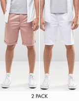 Asos 2 Pack Slim Long Length Chino Shorts In Pink And White SAVE