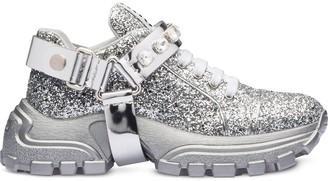 Miu Miu crystal embellished glitter sneakers