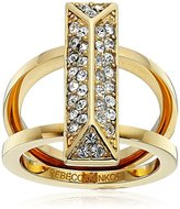 Rebecca Minkoff Gold Pave Rectangle Ring, Size 7