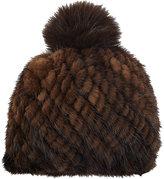 Barneys New York Women's Mink Knit Beanie-BROWN