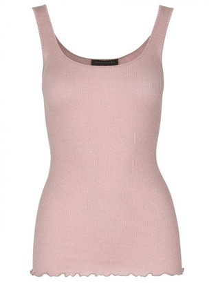 Rosemunde Bliss Silk Top W Lurex - XL / Sandstone Shine