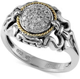 Effy Balissima by Diamond Accent Scrolled Ring in Sterling Silver and 18k Gold