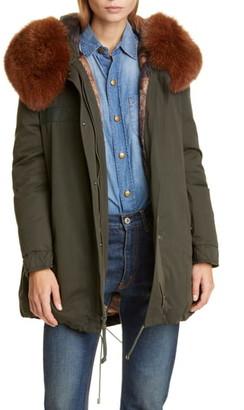 Mr & Mrs Italy Long Down Army Parka with Genuine Fox Fur Trim