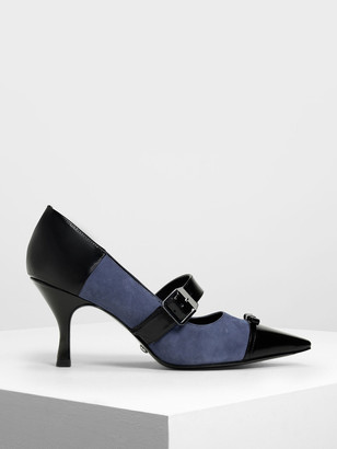 Charles & Keith Leather Ribbon Detail Mary Jane Heels