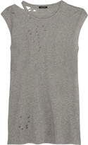 R 13 Distressed cotton and cashmere-blend top
