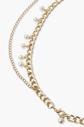 boohoo Chain and Pearl Waist Belt