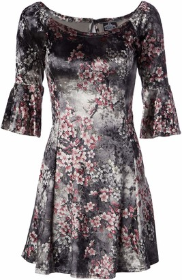 Angie Women's Grey Floral Crushed Velvet Skater Dress with Bell Sleeves Medium