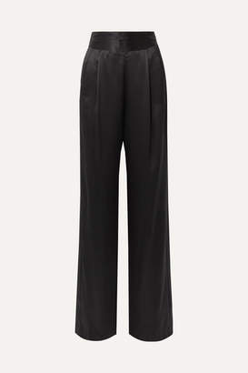 Mason by Michelle Mason Gathered Silk-charmeuse Wide-leg Pants - Black