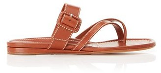Marion Parke Hayley Tan | Leather Thong Sandal With Buckle Detail