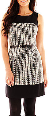 JCPenney LUX II Luxology Sleeveless Belted Dress - Petite