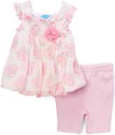 Bon Bebe Pink Rose Print Bubble Dress & Capri Pants