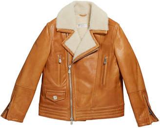 Brunello Cucinelli Boy's Leather Moto Jacket w/ Shearling, Size 8-10