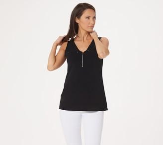 Susan Graver Liquid Knit Sleeveless Half Zip Top
