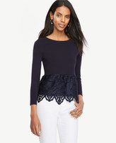 Ann Taylor Botanical Lace Peplum Sweater