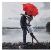 Ren Wil Renwil Kissing In The Rain Canvas Art
